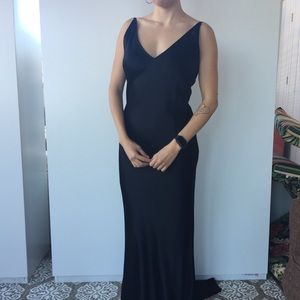 Backless satin evening gown